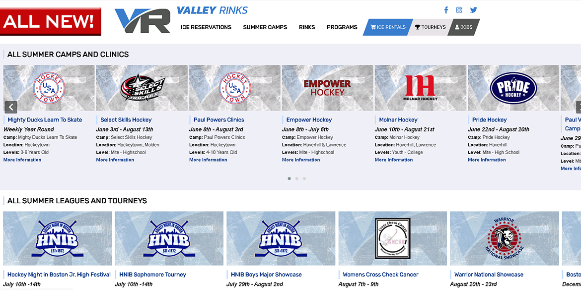 Find Your Summer Camp on New Rinks Site